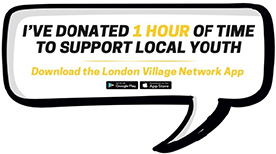 """Sign for volunteers saying """"I've donated 1 hour of time to support local youth"""""""