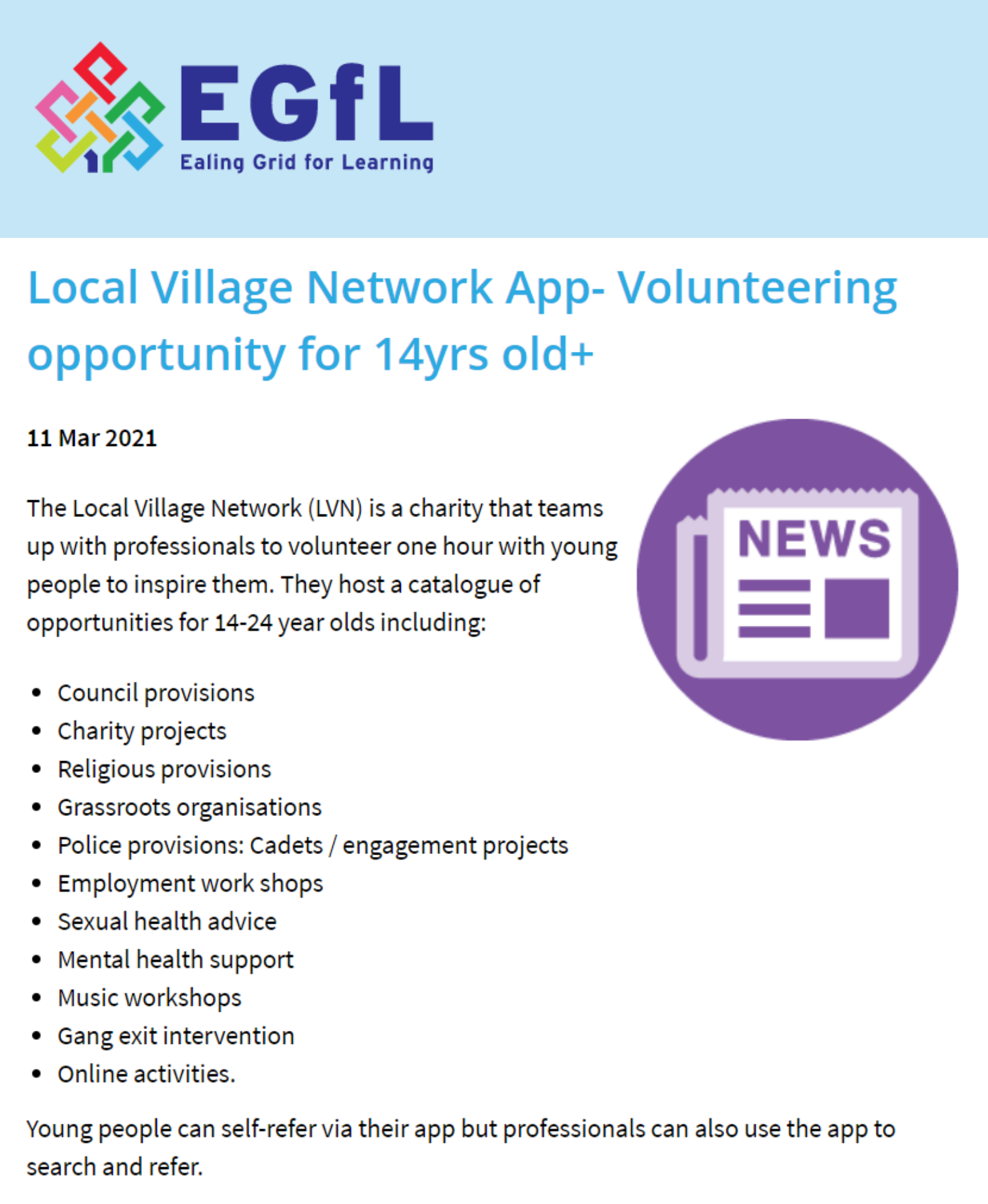 Ealing Grid for learning article on LVN